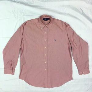 Ralph Lauren Lg  Red/White Pinstriped Dress Shirt